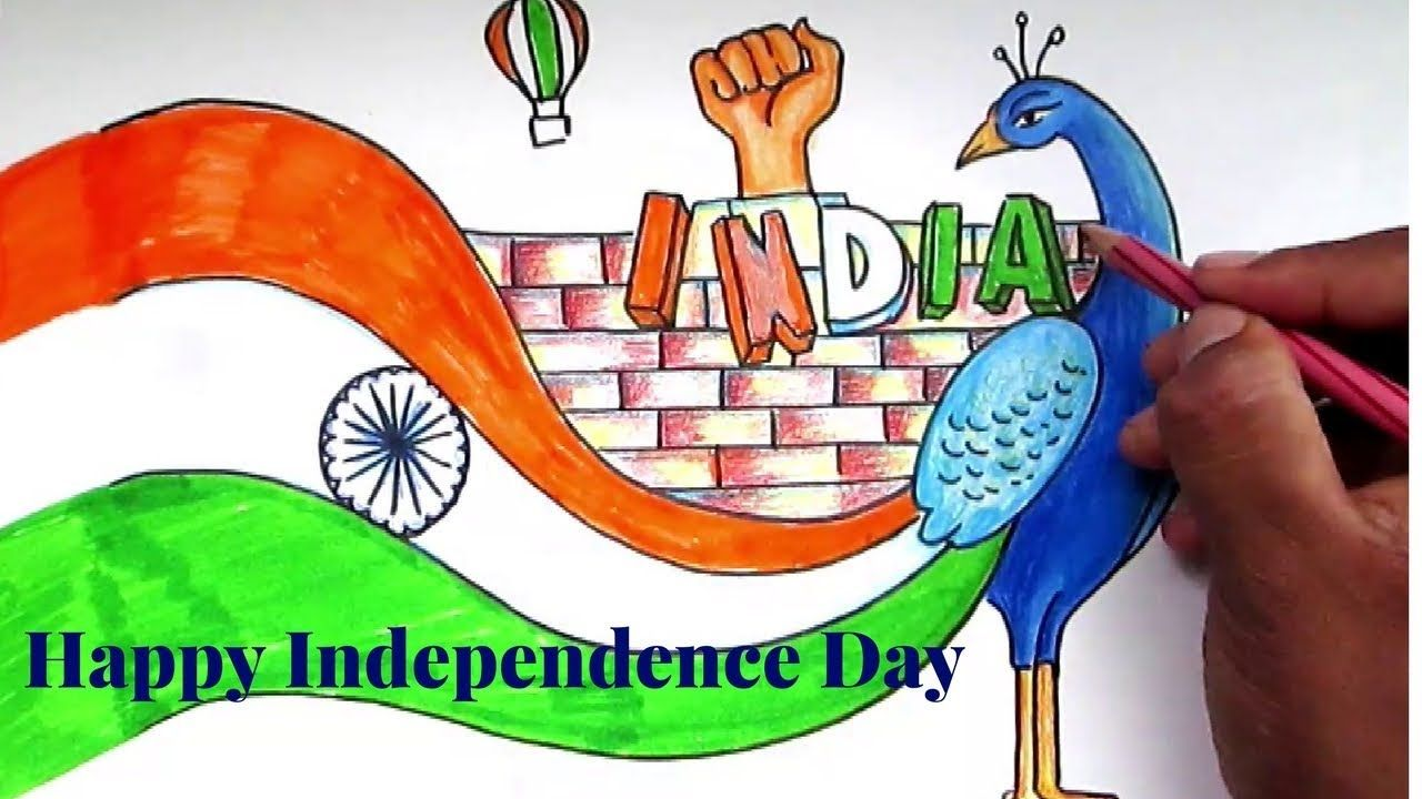 Creative Drawing Happy Independence Day For Kids Slow Mode Independence Day Drawing Happy Independence Day Images Independence Day Pictures