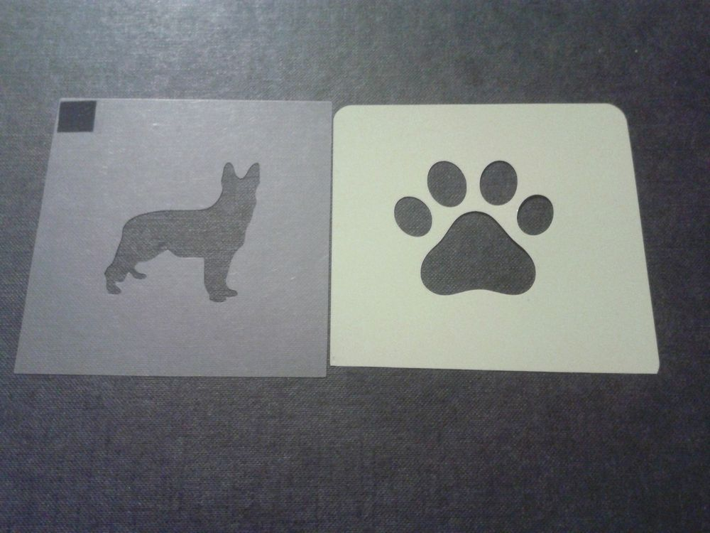 Dog paw stencils for etching glass gift hobby craft 3 design mix  heart corgi