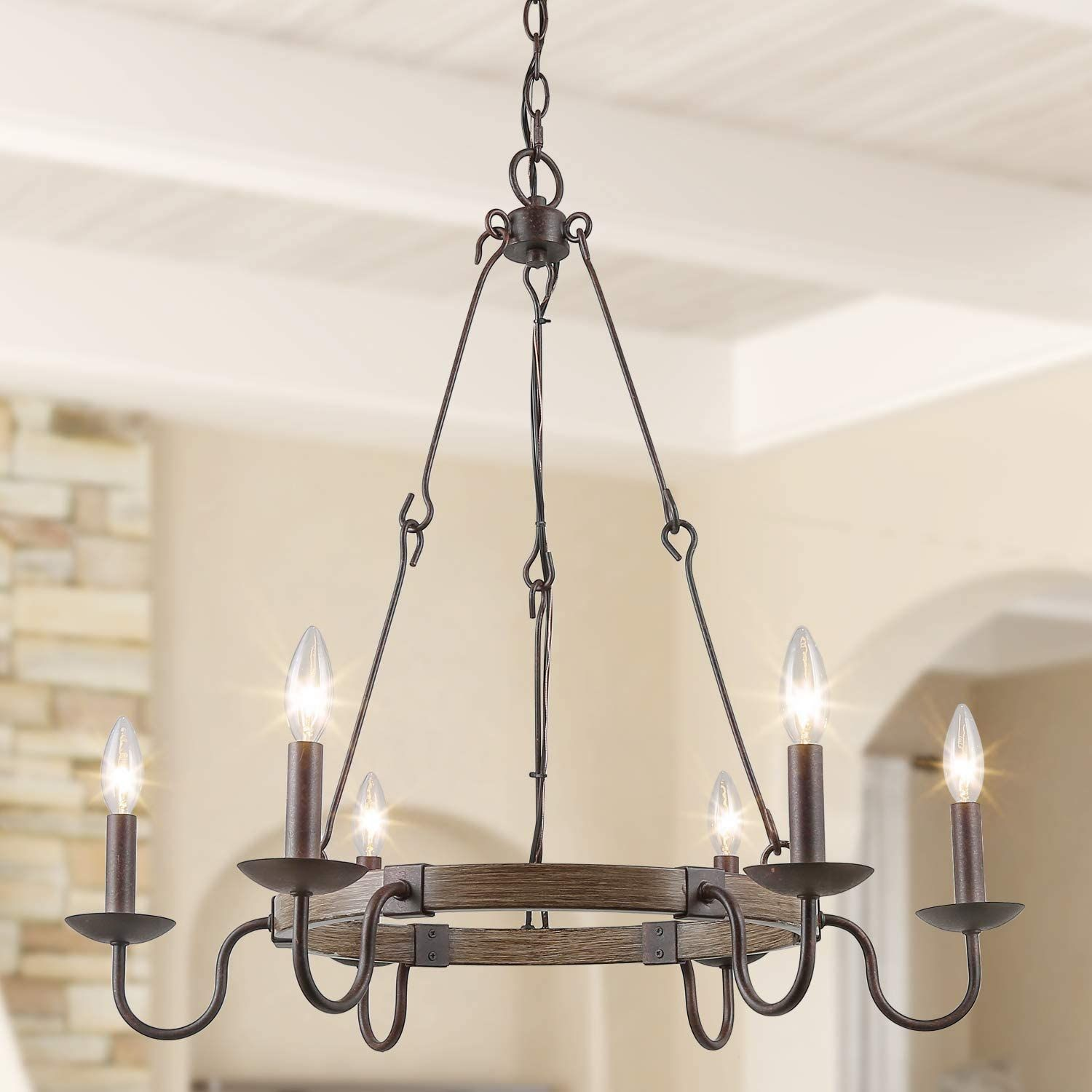 Log Barn Rustic French Country Chandelier Wagon Wheel Hanging Island Lighting For Kitchen In 2020 French Country Chandelier Country Chandelier Country Kitchen Lighting