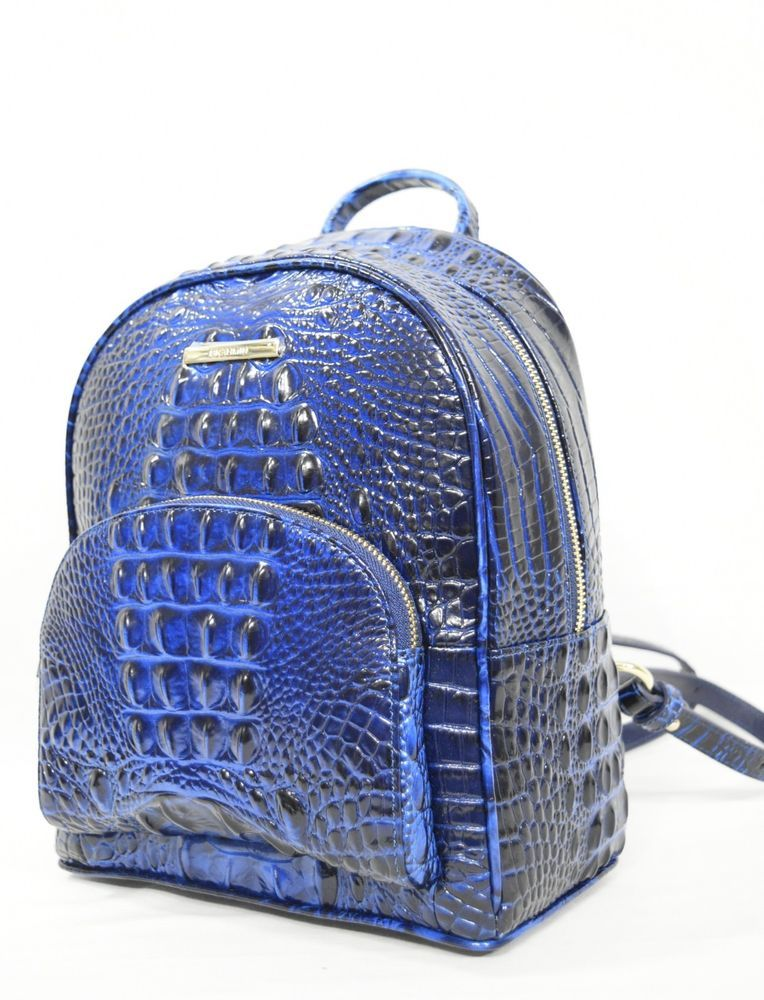 521bd1fdd2f335 NWT Brahmin Mini Dartmouth Backpack in Sapphire Melbourne. Embossed  Leather.  Brahmin  BackpackStyle