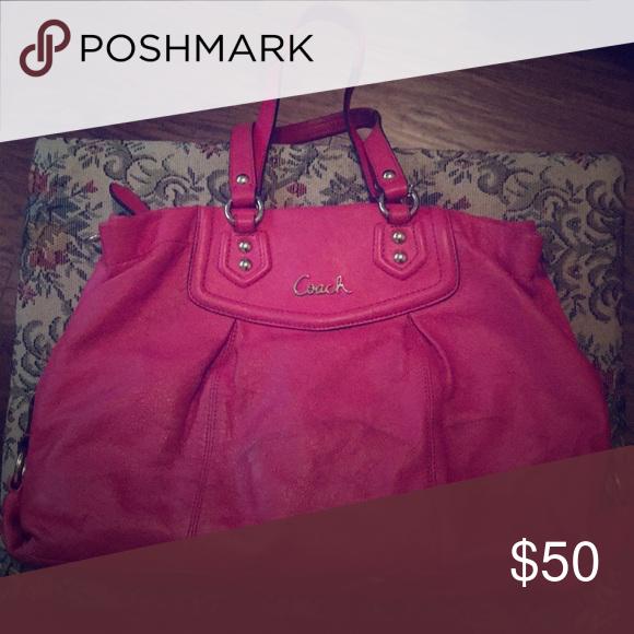a174bf46cb2 Cute hot Pink Coach purse Super cute Coach bag, no cloth, leather Coach Bags  Totes