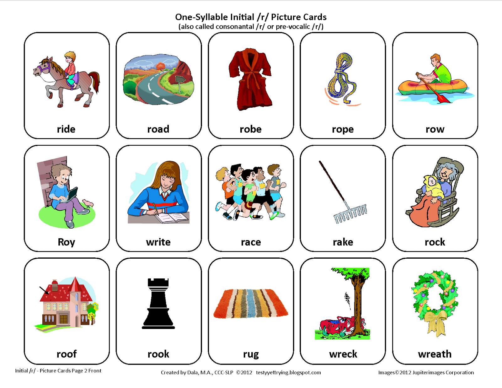 Initial R Free Speech Therapy Articulation Picture Cards