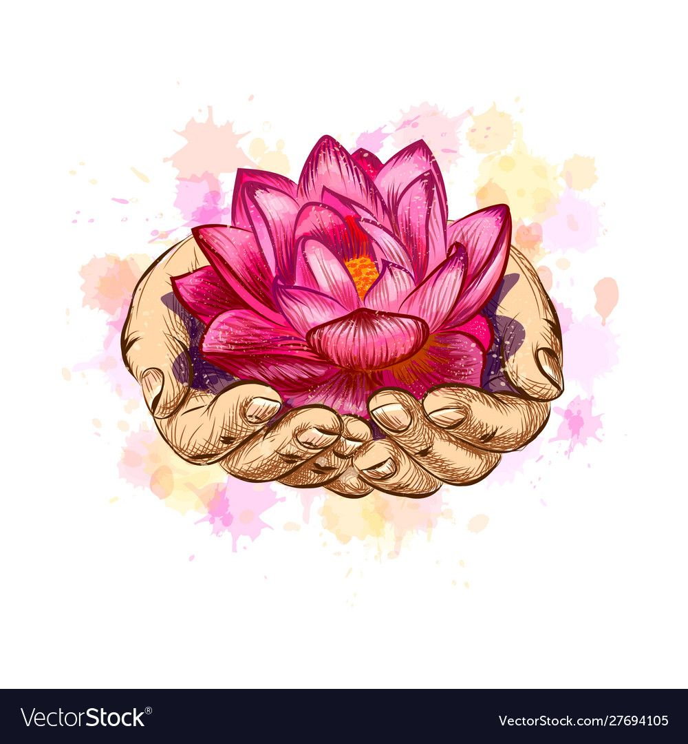 Woman holding a lotus flower, hand drawn sketch. Vector
