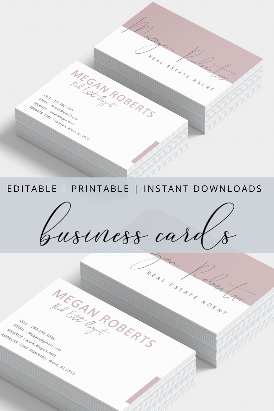 Pink Modern Business Card Templates Modern Business Cards Calling Card Design Printable Business Cards