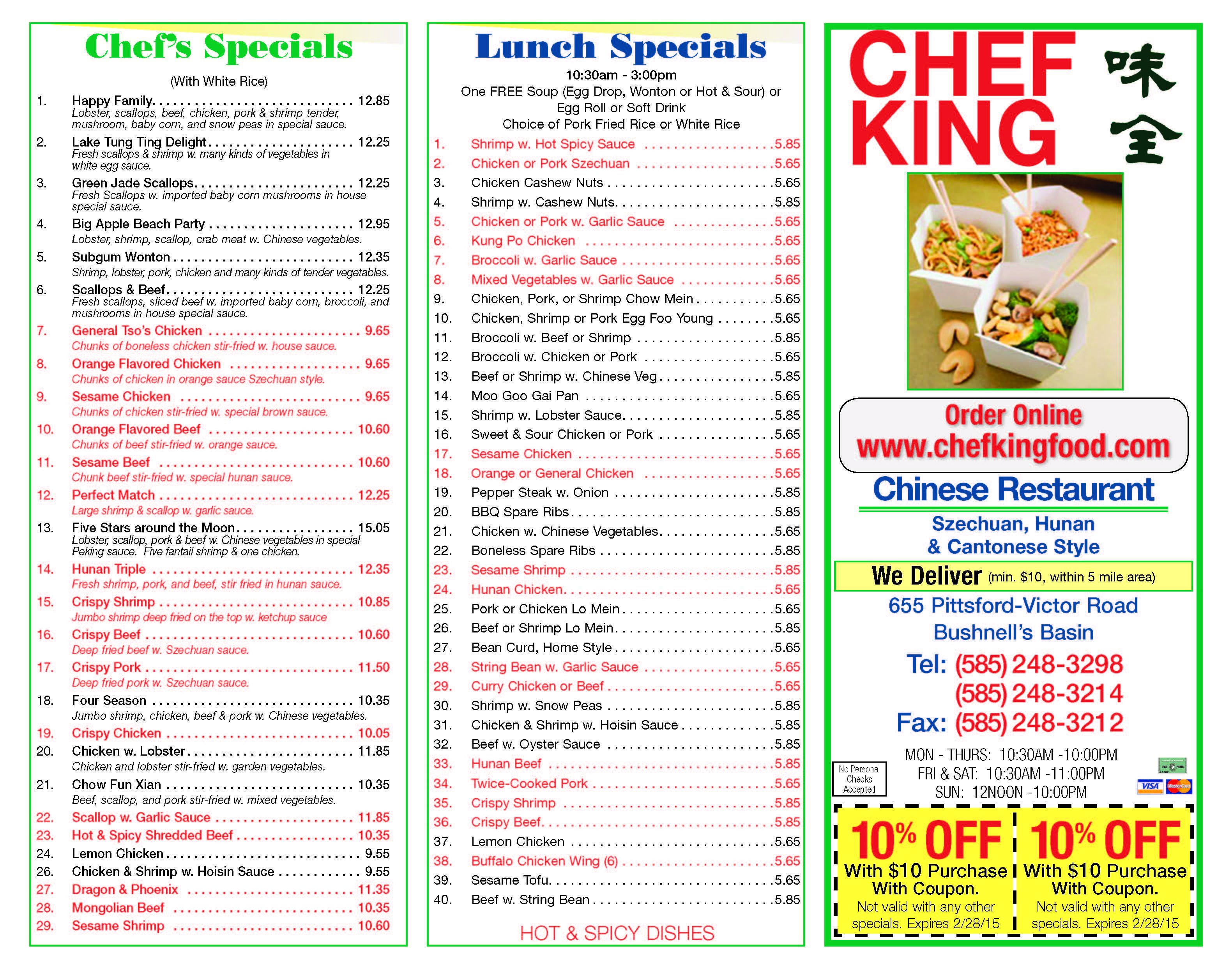 Chef king serves delicious authentic chinese cuisine w a