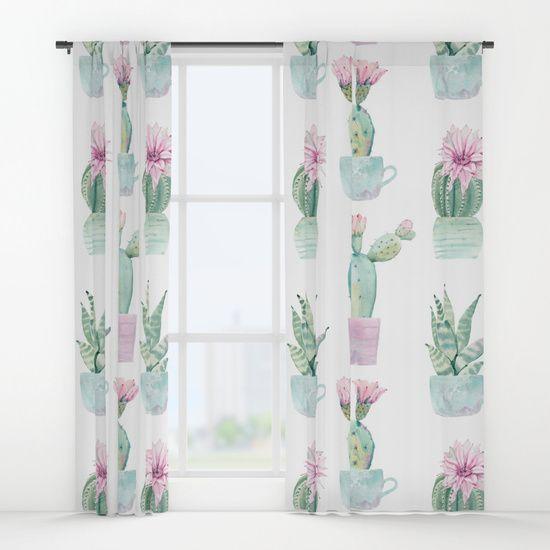 Simply Echeveria Cactus In Pastel Cactus Green And Pink Window Curtains Cactus Decor Bedroom Cactus Bedroom Cute Room Ideas