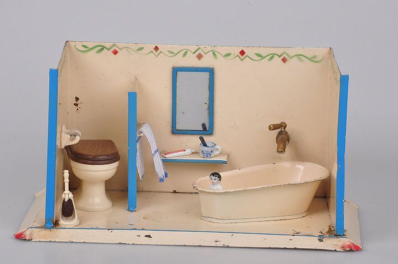 Badezimmer Zubehör ~ Badezimmer blech beige lackiert und lithographiert
