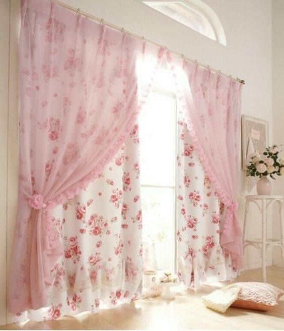 Cortina rosada para dormitorio de niña | crochet y cojines ...