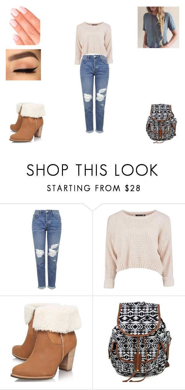 """""""Untitled #402"""" by mia-bella121 ❤ liked on Polyvore featuring moda, Topshop, UGG Australia e Elegant Touch"""