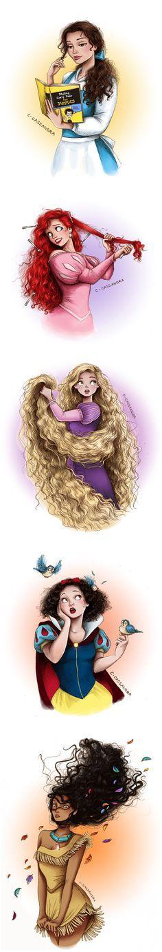 Disney Princesses With Curly Hair Disney Girls With Curls Belle Beauty And The Beast Ariel The Little Merma Dessins Disney Disney Dessins Animes Disney