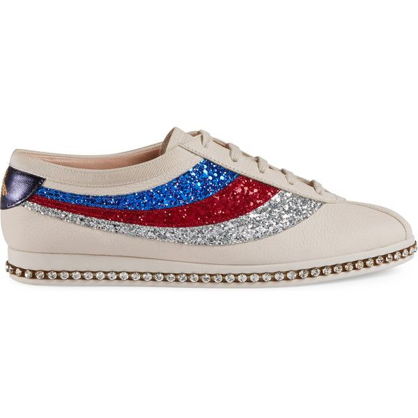 95343f602 Gucci Falacer Sneaker With Glitter Sylvie Web ($980) ❤ liked on Polyvore  featuring shoes, sneakers, white, low profile sneakers, white trainers, ...
