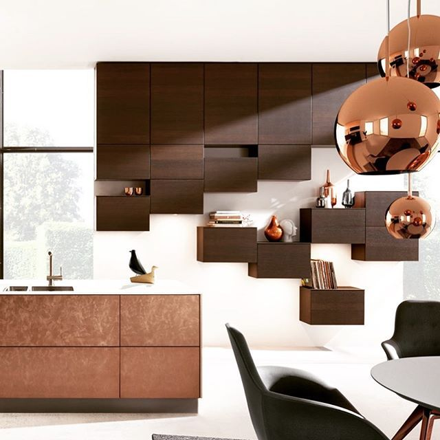 Contemporaryinterior Design Ideas: K I T C H E N Mixing Metallic Bronze With Mocha Oak