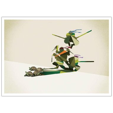 Walking Shadows - turtles art deco print