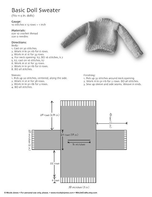 Free tutorial for basic Barbie doll sweater. | Plastic/Vinyl Dolls ...