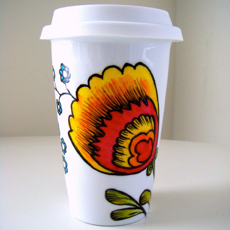 Ceramic Travel Mug Polish Folk Flowers by sewZinski. 30