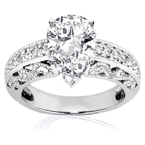 Buy.com - 1.35 Ct Pear Shaped Diamond Vintage Engagement ...