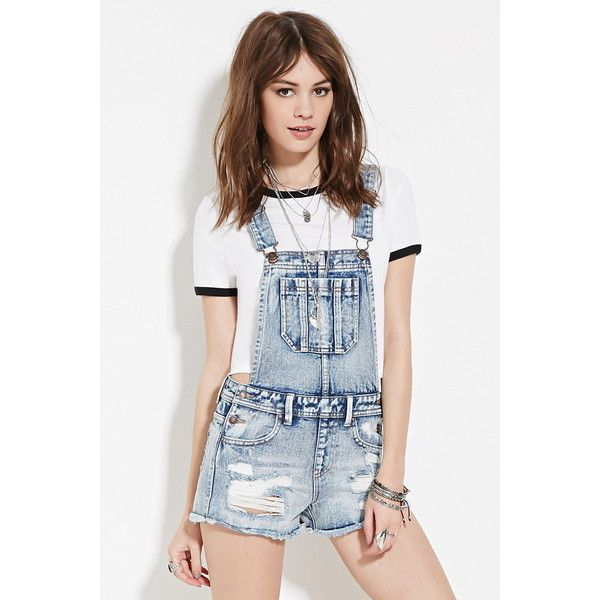 Forever 21 Womens Distressed Denim Overalls 30 Liked On