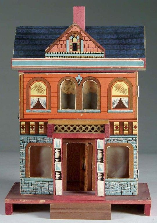 Dollhouse | Bliss Victorian Lithographed Paper on Wood 2-Story