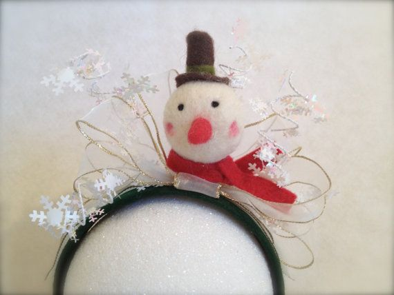 Items similar to Snowman Bow Holiday Fascinator Headband Ugly Christmas Sweater Accessory Adult Size on Etsy