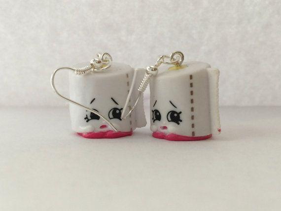 White leafy toilet paper Shopkins Earrings | Shopkins ...