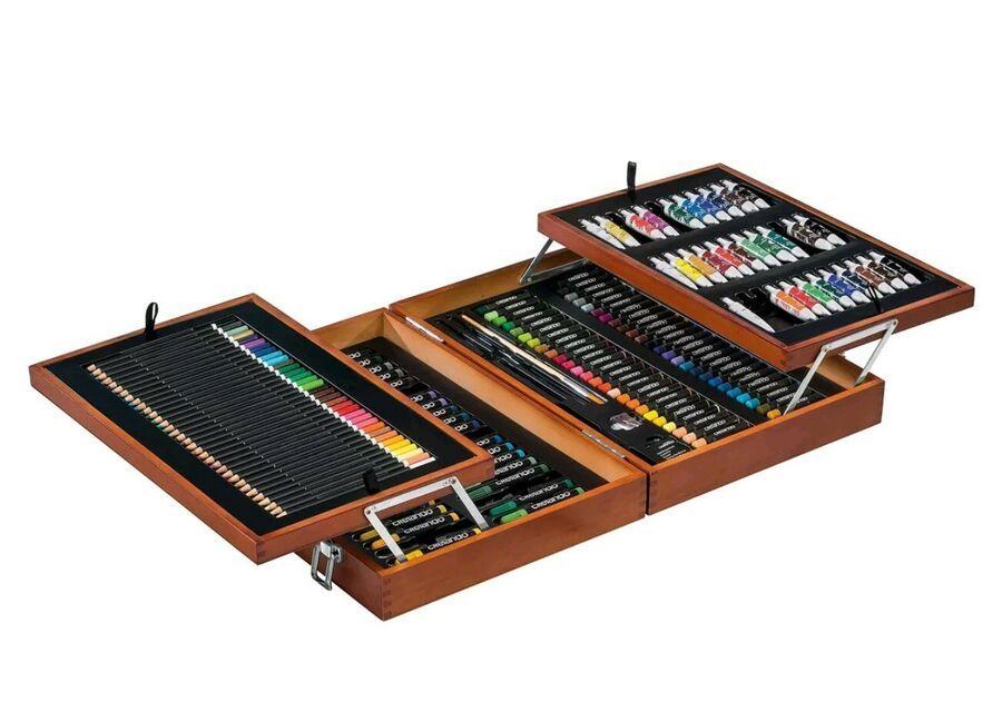 Crelando Artists Paint Box 174 Piece Set Paints Pencils