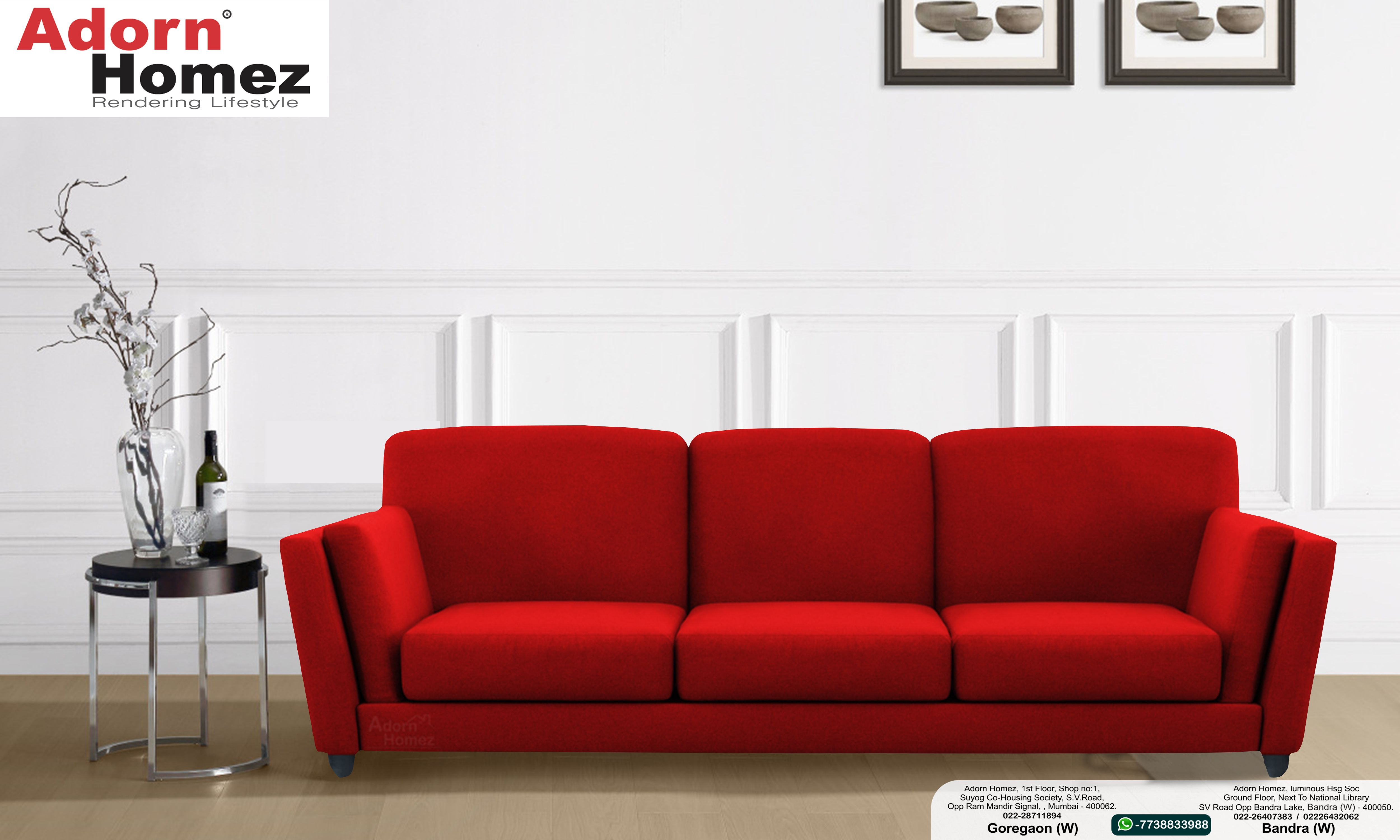 Swell Cabana Fabric 3 Seater Sofa Set By Adorn Homez Red Sofa Inzonedesignstudio Interior Chair Design Inzonedesignstudiocom