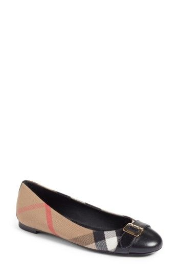 ff144191124 Free shipping and returns on Burberry Check Canvas Cap Toe Ballerina Flat  (Women) at Nordstrom.com. A shining buckle strap spans the cap toe of a  chic ...