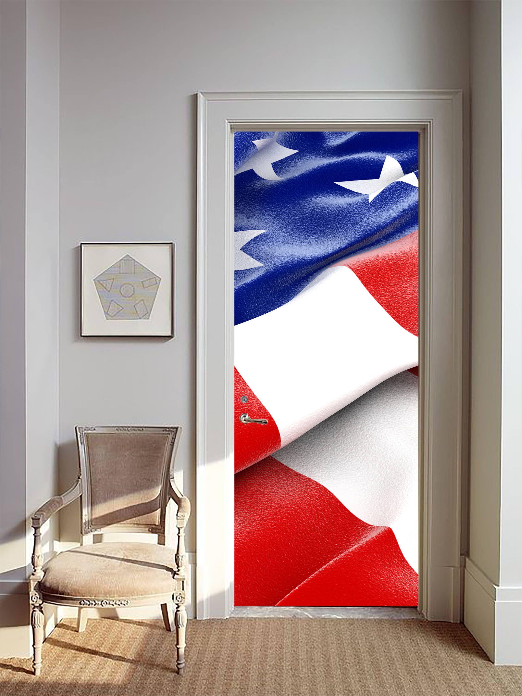 Removable Wallpaper Mural Peel Stick Door Sticker Usa Flag By Uniqstiq On Etsy Mural Wallpaper Removable Wallpaper Door Stickers