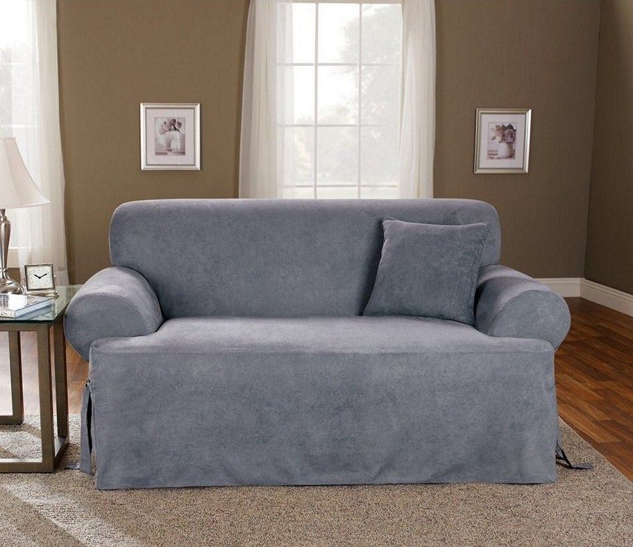 sure fit soft suede tcushion loveseat slipcover smoke blue