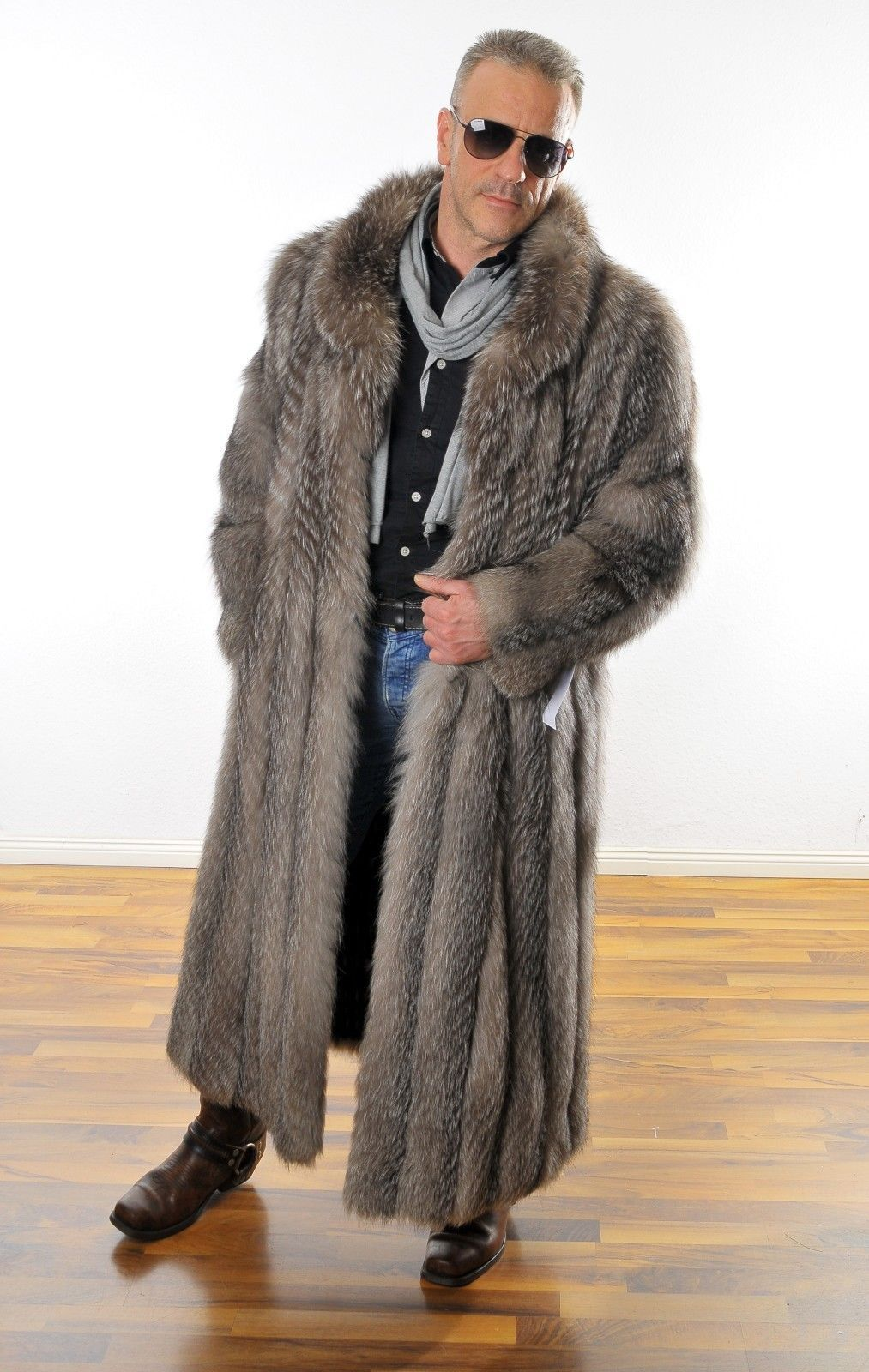 mens fur coat herren pelz silberfuchs mantel silverfox pelliccia foururre renard ebay fur. Black Bedroom Furniture Sets. Home Design Ideas