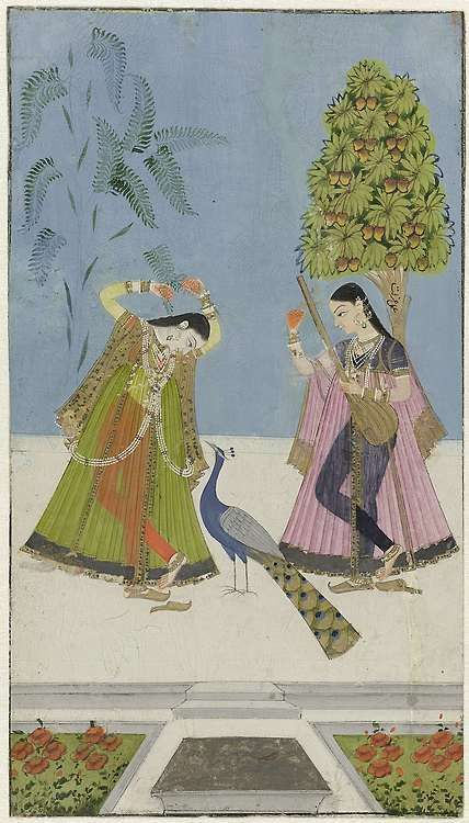 Indian Two women and a peacock, Gujara Ragini, anonymous, 1780 - 1799 Rijksmuseum Netherlands