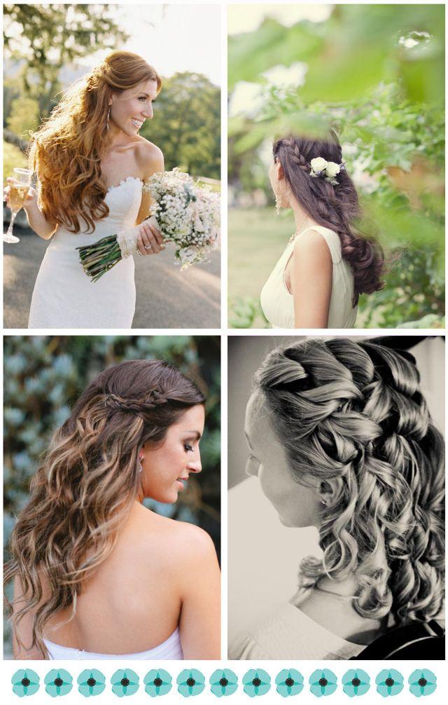 peinados de novia con pelo largo y rizado