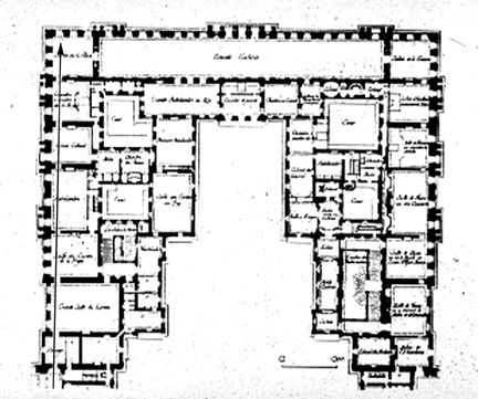 J H Mansart Versailles Chateau 1679 Plan Of First Floor Palace Remodelling Jpg 432 361 Pixels Palace Of Versailles France Floor Plans Versailles