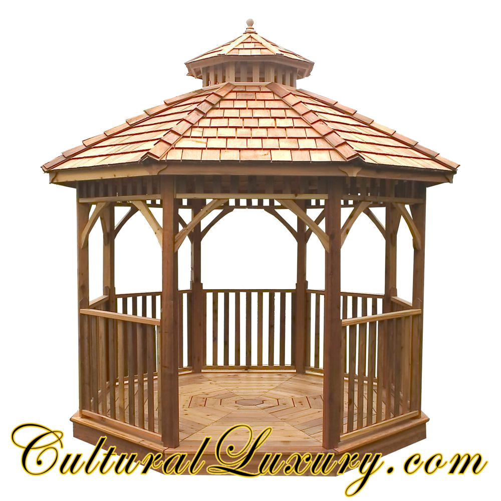 Wooden Round Gazebo Backyard Outdoor Patio Pavilion Garden House