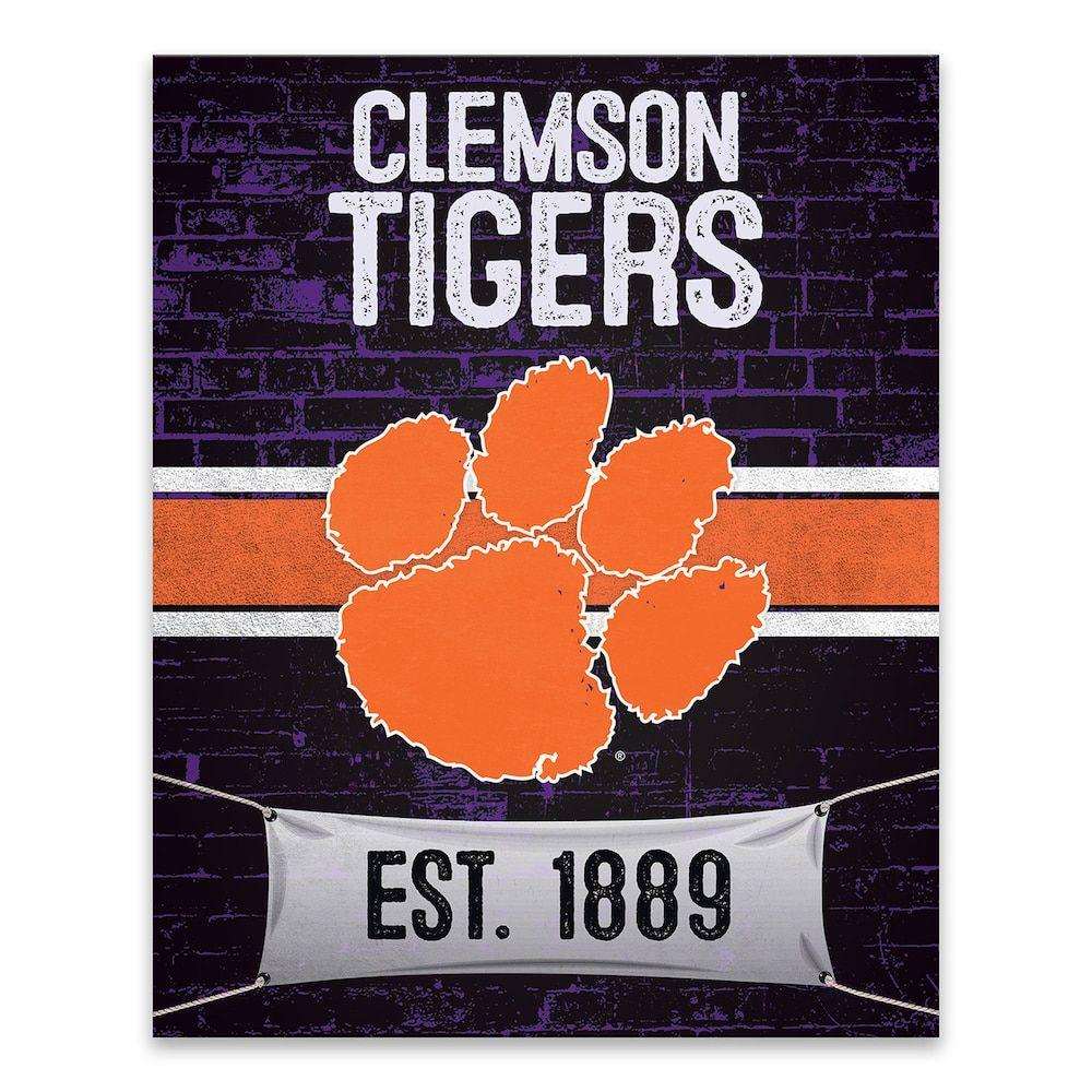Clemson Tigers Brickyard Canvas Wall Art, Team Tiger