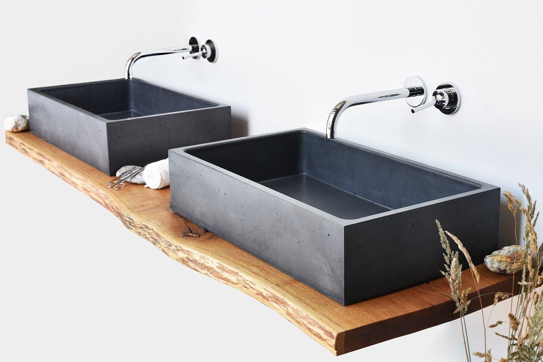 Lavabo sobre encimera rectangular de hormig n box single for Encimera de concreto encerado bano