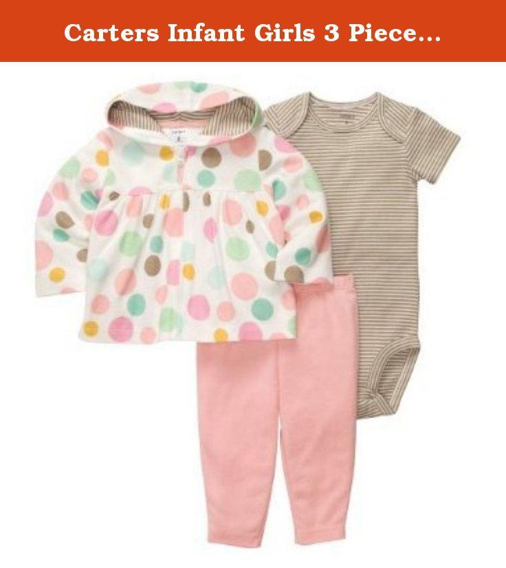 3e4e90479 Carters Infant Girls 3 Piece Polka Dot Hoodie Stretch Pants Striped ...