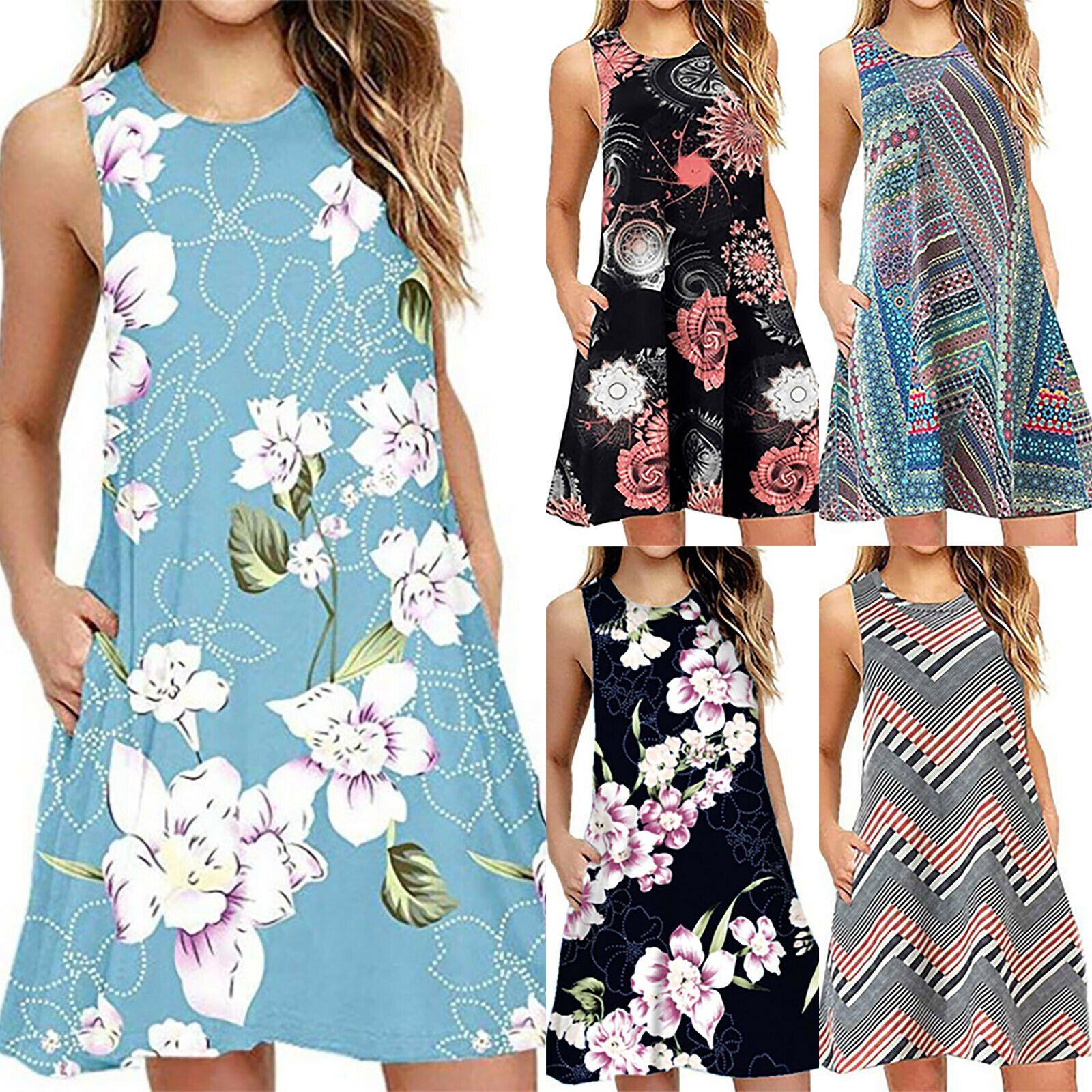 Women Casual Summer Mini Dress Loose Tunic Long Tank Top Blouse Dress Plus Size Long Dresses Ideas Of Plus Size Party Dresses Mini Dress Mini Dress Casual [ 1600 x 1600 Pixel ]