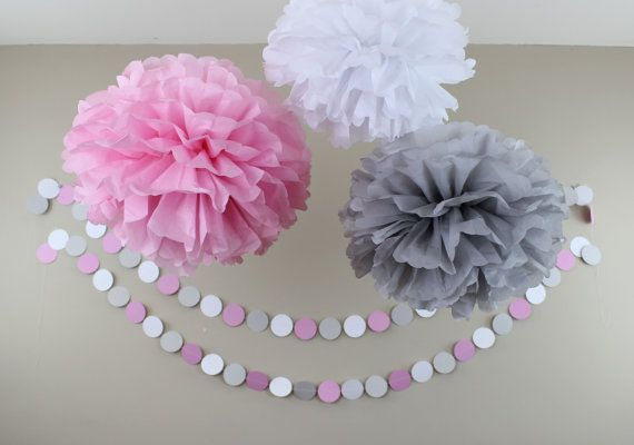 Marvelous Pink Gray And White Baby Shower Decorations Tissue By TeroDesigns, $22.00