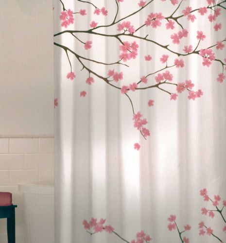 Cherry Blossom Decor For Hall Bath Pink Shower Curtains Fabric Shower Curtains Cherry Blossom Decor