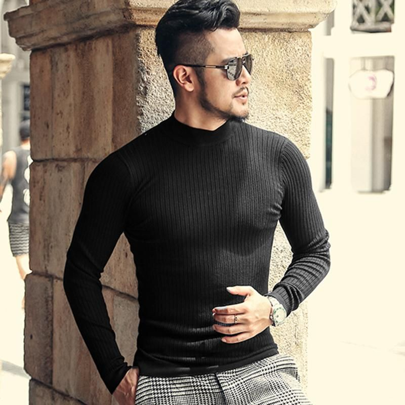7e3ecf2c84a9 Black Textured Male Slim Fit High Neck Sweater #tracksuit #joggingsuit  #running #gymtracksuit