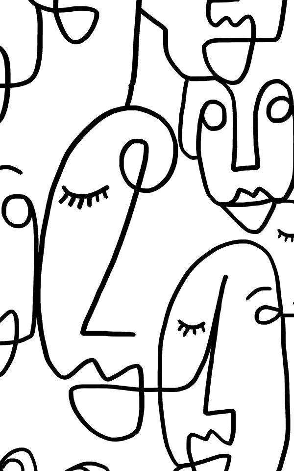 Large Face Line Drawing Wallpaper Mural In 2018 Kunst Pinterest