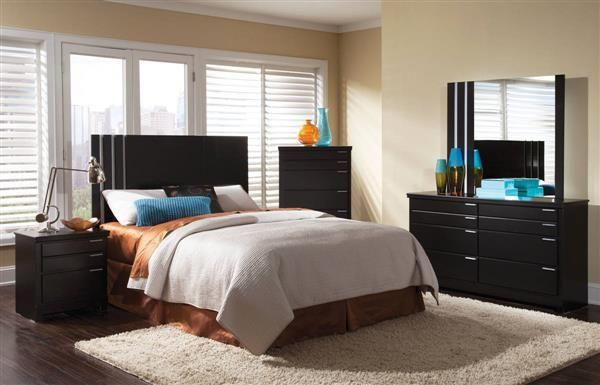 Infinity Modern Black Wood Master Bedroom Set Lifestyle