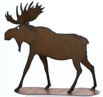 Metal Moose Figurine Rustic Home Decor Free Standing