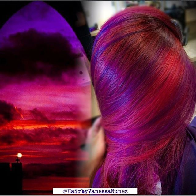 Red and Purple hair color design inspired by a crimson sunset ...