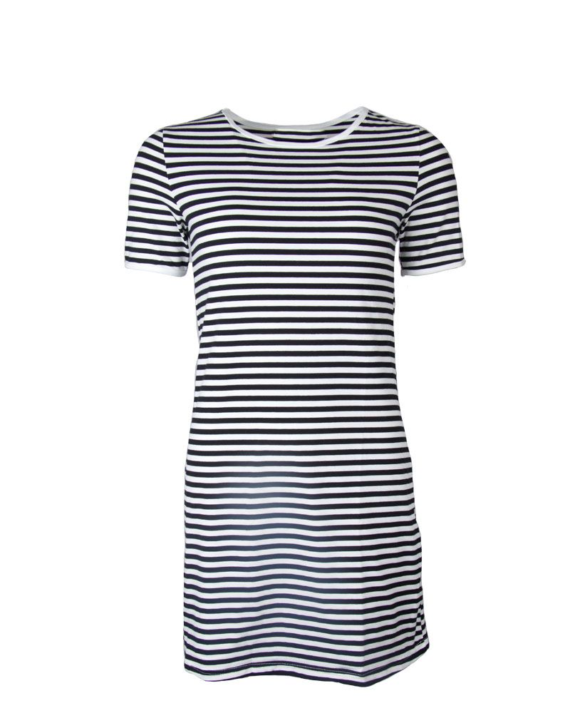 Black and white striped bodycon dress without