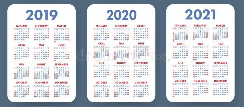 Pocket Calendar 2019 2020 2021 Set Basic Simple Template Wee K Starts On Su Ad Set Basic Pocket Calendar Professional Business Cards Logo Calendar