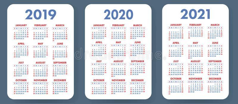 Pocket Calendar 2019 2020 2021 Set Basic Simple Template Wee K Starts On Su Ad Set Basic Pocket Calendar Professional Business Cards Logo Calendar
