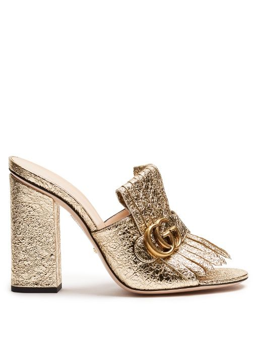 Gucci Marmont Fringed Leather Sandals