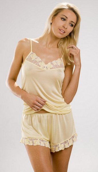 Sulis Silks Silk jersey and lace camisole in Lemon 0b7335294